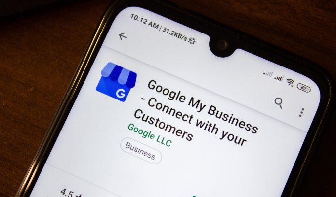 Google My Business listing on phone