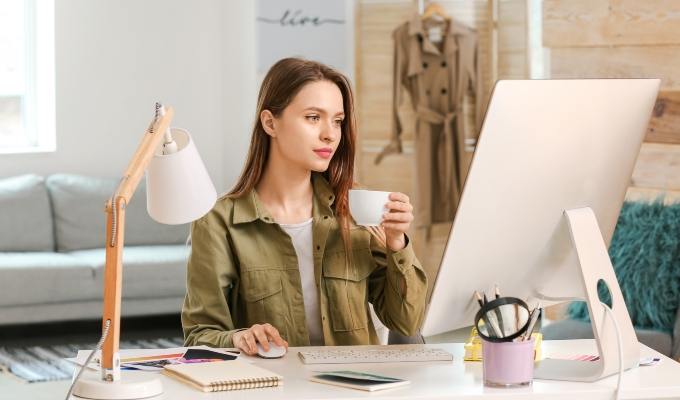 Person in front of computer preparing for end of financial year