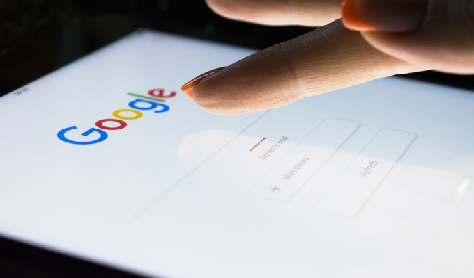 Google search being performed on tablet