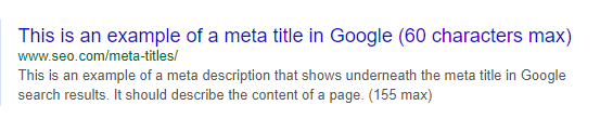 Example of a meta title of a web page looks like in Google search result