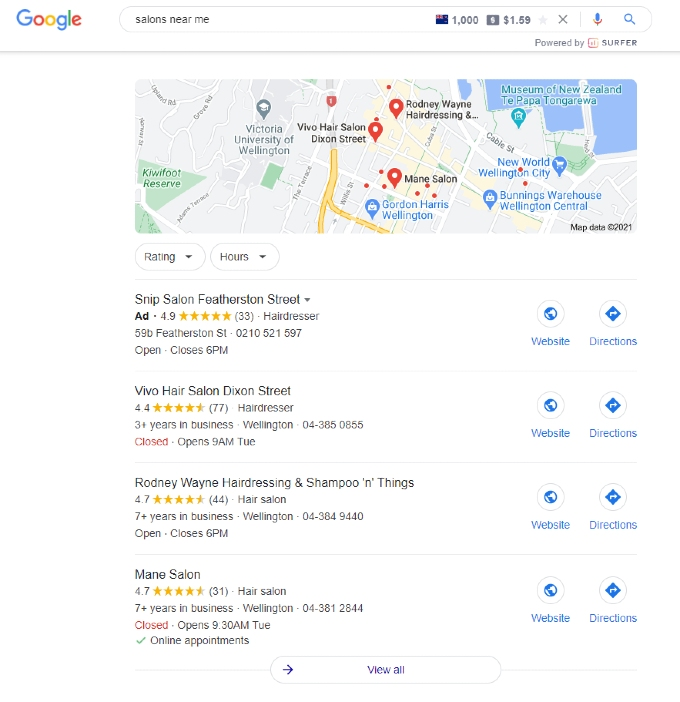 google my business example 'salons near me'